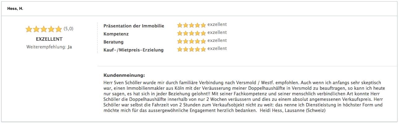 Bewertung Hess, H. Verkäufer Versmold