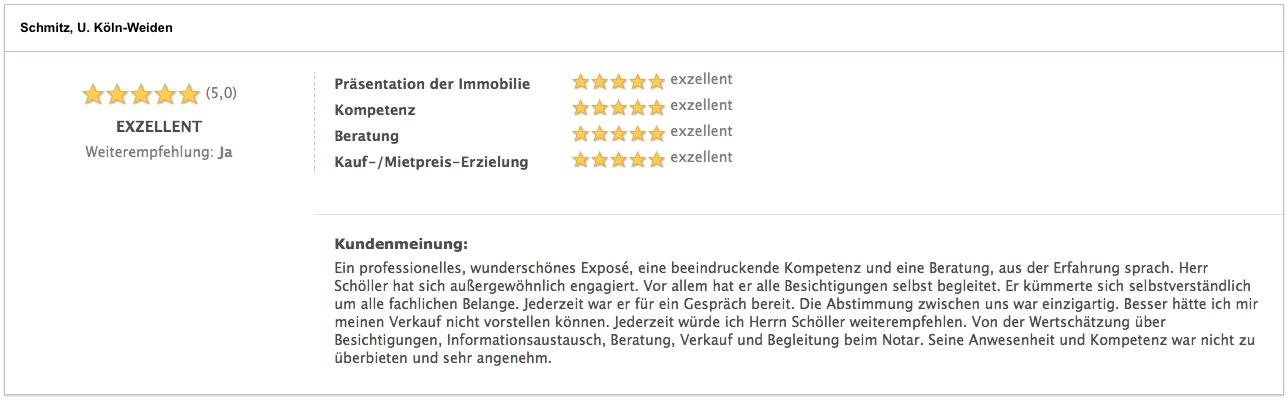 Bewertung Schmitz, U. Köln-Weiden Verkäufer Köln