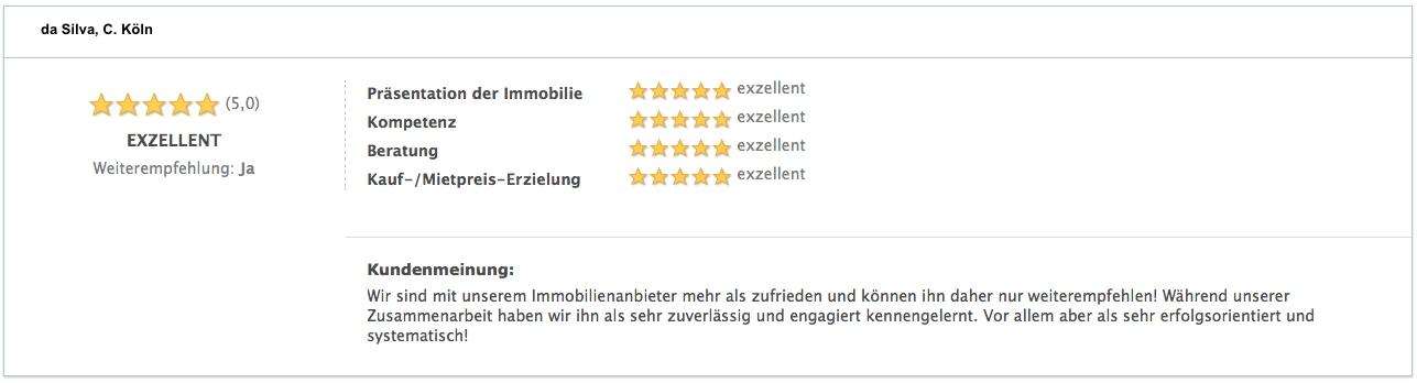 Bewertung da Silva, C. Köln Bewertung Verkäufer Köln